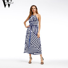 Buy WYHHCJ 2017 New halter 7 Colors long dress Women backless 2017 dresses vestidos Sexy white Striped summer dress