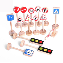 New 15PCS Colorful Wooden Street Traffic Signs Parking Scene Kids Children Educational Toy Set For Kids Birthday Gift(China)