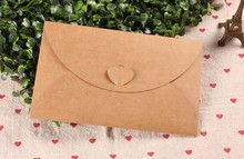 20Pcs/Lot 11*17.5cm Heart Clasp Kraft Paper Envelope For Wedding Party Invitation Card DIY Scrapbooking Postcard Photo Or Letter