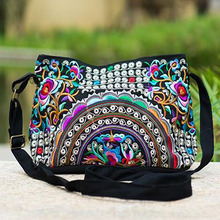 Women Handbag National Ethnic Embroidery Bags New Women's One Shoudler Bag Vintage Double Side Embroidered Messenger Small Bags(China)