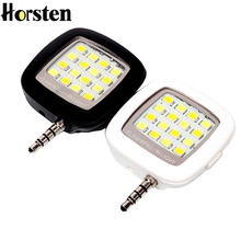 Horsten 2pcs Cell Phone Camera Fill Light Smartphone LED Flash Light 16 Led Portable 3.5mm For IOS Android Adjustable Brightness