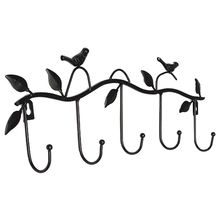 CNIM Hot Iron Birds Leaves Hat/Towel/Coat Wall Decor Clothes Hangers Racks With 5 Hooks Black(China)