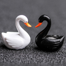 2pc/lot Black White Swan Figurine decoration mini fairy garden animals statue miniature Home Desk ornaments resin craft TNA008(China)