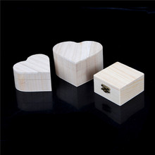 Rectangle Heart Shape Wood Jewelry Box rectangle Shape Mud Base Art Decor Children Kid Baby DIY Wooden Crafts Toys