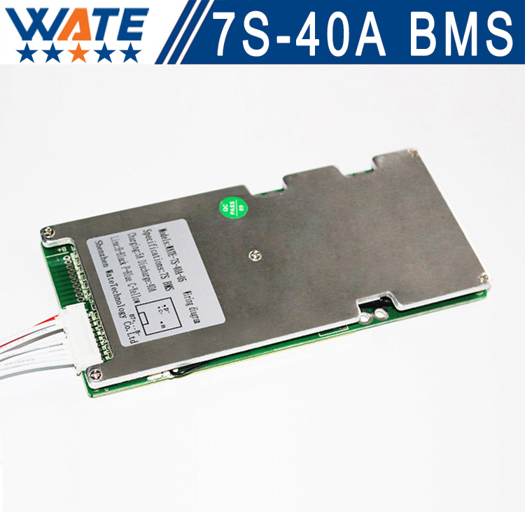 3.6V3.7V cell 7S 24V40A BMS Used for 24v 10ah12ah15ah battery 15A continuous 50A peak discharge With balance function<br>