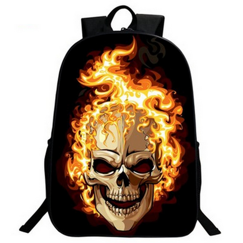 Hip-Hop teenager Bags Punk Rock Skull Printed backpack Bags for Boys Casual Ladies Bolsa large polyester bookbag<br><br>Aliexpress