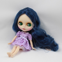 Free shipping Nude Doll For Series No.280BL6221 Rubber Skin Joint Doll Blue hair Suitable For DIY Change BJD Toy For Girl