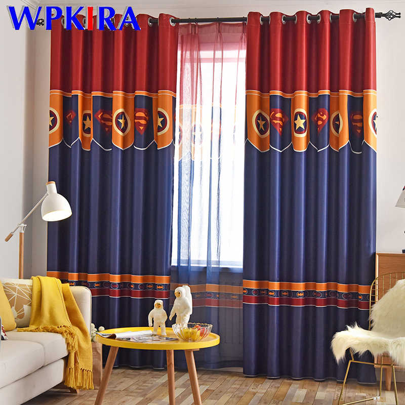 American Leader Blackout Curtains Cartoon Super Hero Design Children Curtain For Boys Bedroom Living Room Window Drapes P280D3
