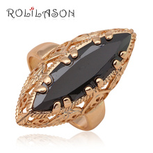 Cool Black onyx Huge rings for women  Gold Tone Black Crystal Fashion Jewelry Wonderful Rings USA Size #7#8#9 JR2024