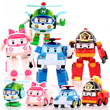 New Year Gifts  PO LI Deformation Anime Robots Deformation of the car turns into a fire truck Fancy toy car For Children