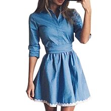 Fashion Lace Stitching Blue Denim Dress 2017 Autumn New product Women's Casual Turn-down Collar Slim Dress Party Mini Dresses(China)