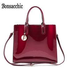 Bonsacchic Red Patent Leather Tote Bag Handbags Women Famous Brands Lady's Lacquered Bag Red Handbag for Women Shoulder Bag Sac(China)