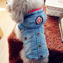 Jeans Winter Dog Clothes Denim Blue Jackets Coats Warm Thick Puppies Small Large Big Animals Cats Pets For Chihuahua Poodle Pugs(China)