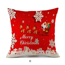 Christmas Red Cotton Almofadas 45Cmx45Cm Square Cushion Cover Home Decor Pillow Case Decorating 1 Side Printing Fundas EY11(China)