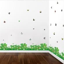 green clove flowers butterfly wall stickers living room decor diy baseboard plant wall decals art peel and stick