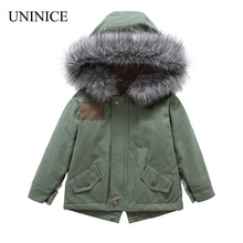 UNINICE Fashion Girls Winter Fur Coat 2017 Baby Girls Fur Hooded Jackets Army Green Parka Thicken Kids Children's Outerwear(China)