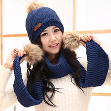 Winter women's ultra long plus velvet thickening knitted thermal set yarn scarf hat twinset birthday gift(China)