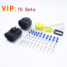 10 Sets Car Parts Kits AMP Ten Male Female Auto Connector Plugs 1.8 Series Black Shipping Fast