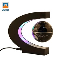 Fashion Home Decoration LED Floating Tellurion C Shape Magnetic Levitation Floating Globe World Map With LED Light Santa Decor(China)