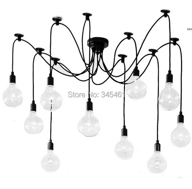 2015 New - 6/8/10/12/14 heads Pendant Light Amercian vintage black pendant lamp E27 40W 110-220V Retro Pendant Lights<br><br>Aliexpress