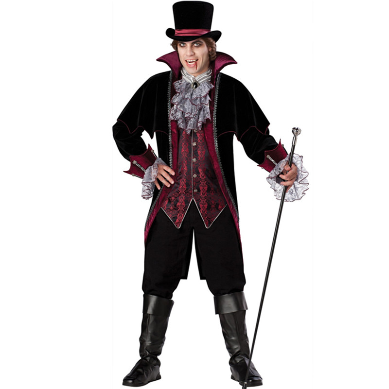 New Adult Mens Halloween Party Dracula Vampire Costumes Outfit Fancy Devil Cosplay Dresses With Hat