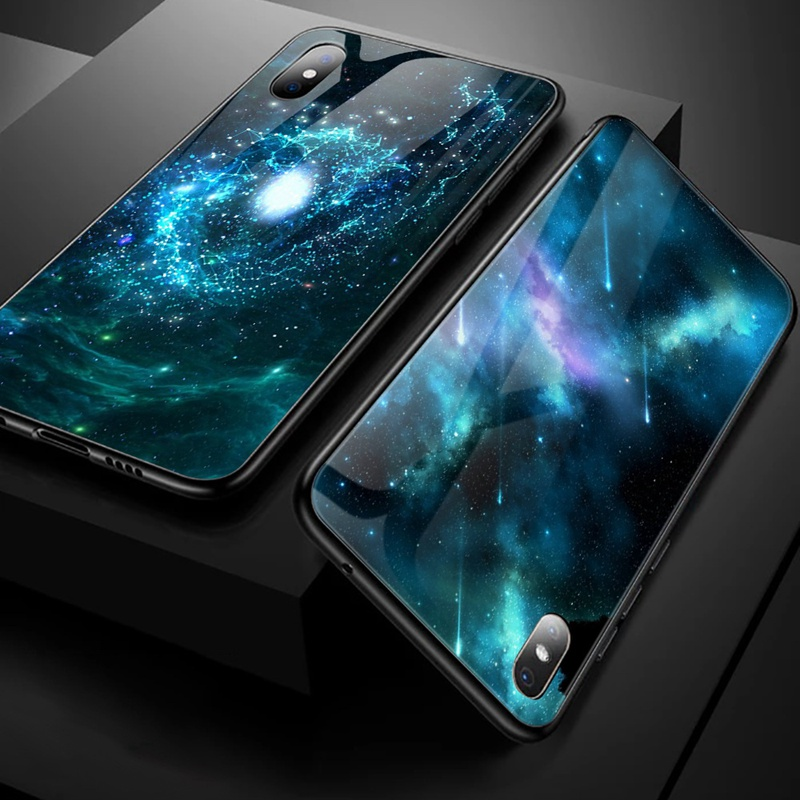 TOMKAS Luxury Space Cover Case for iPhone X Xs Max Xr Xs Glass Silicone Phone Case for iPhone 7 8 Plus Cases for iPhone 6 S 6s (31)