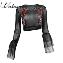 Weekeep 2017 Sexy Transparent Flower t shirt Black Long Sleeve Crop Top Lace Up Flare Sleeve tshirt Women Elegant Bts Tops