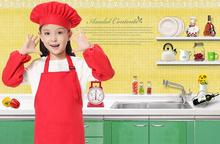 Children Polyester Aprons Paintings Children Chef apron with hat and sleeve custom printing