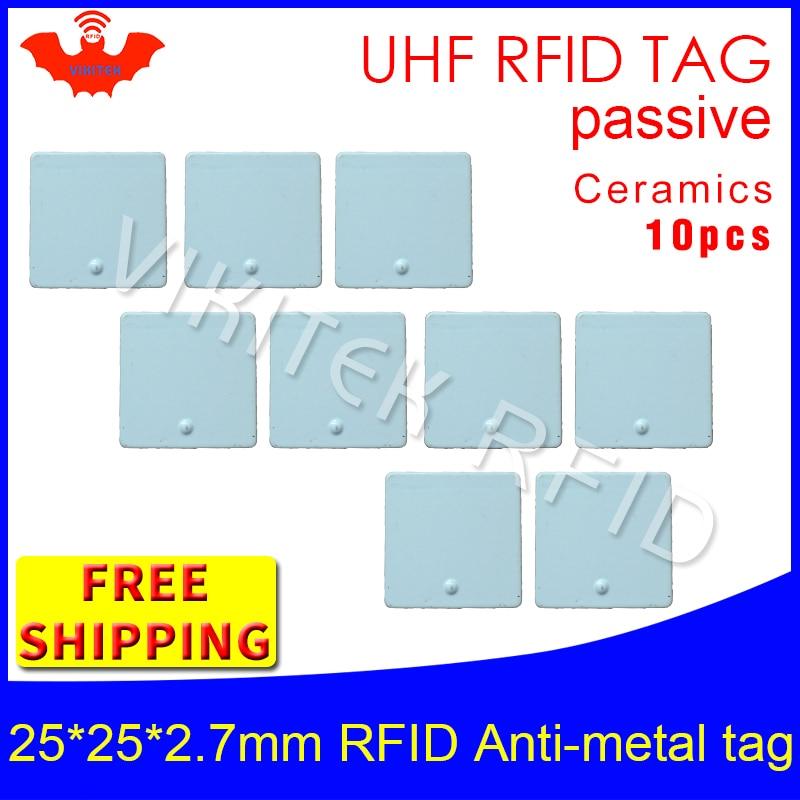 UHF RFID anti metal tag 915mhz 868mhz Alien Higgs3 EPC 10pcs free shipping 25*25*2.7mm small square Ceramics passive RFID tags<br>