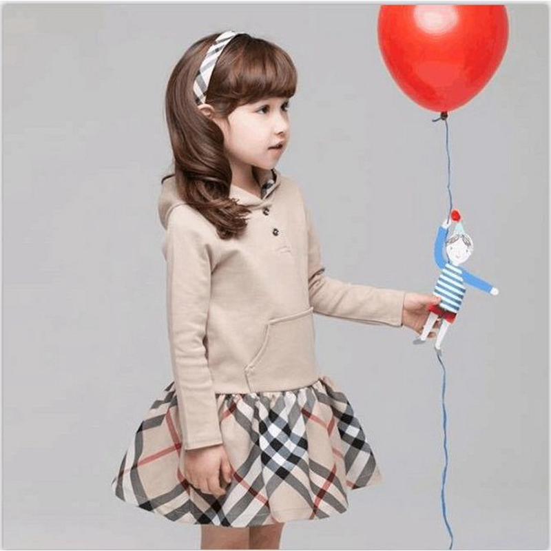 Dresses for girls 10 years girl spring children clothing wear Cotton Hooded Classic plaid long sleeved T-shirt dresses 3-10 year<br><br>Aliexpress