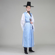 Silk Orthodox Korean Traditional Costume Men Korean Royal Wedding Costume Satin Male Hanbok Korean Costume Ethnic Clothing 18(China)