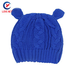 2017 New arrival Jacquard Knitted stylish beanies Casual Caps with two small ears Warm Winter large beanie hat DS20170132 x33