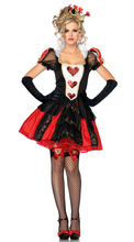 Hot Queen of Hearts Ladies Fancy Dress Costume Alice In Wonderland Costume Outfit + FREE STOCKING fancy dress free shipping