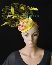 NEW Yellow pink  veiling fascinator kentucky derby hat with feathers&handmade flower for wedding race .