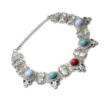 Trendy Fashion 3 Color models option Crystal beads colorful alloy Neclace pendant Fashion Gift party Necklace for Women(China)