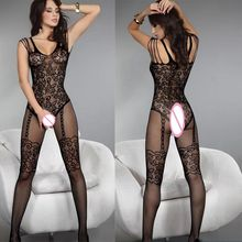 Buy Black Sexy Erotic Lingerie Women Hot Bodysuit Sexy Costumes Transparent Intimates Womens Bodystocking Open crotch Sex Products