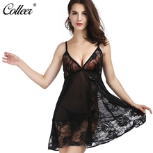 COLLEER Brand Sexy Lingerie Rose Crochet Bow Sleepwear Underwear Nightwear Plunging Lace Bralette Transparent Bra Set for Women