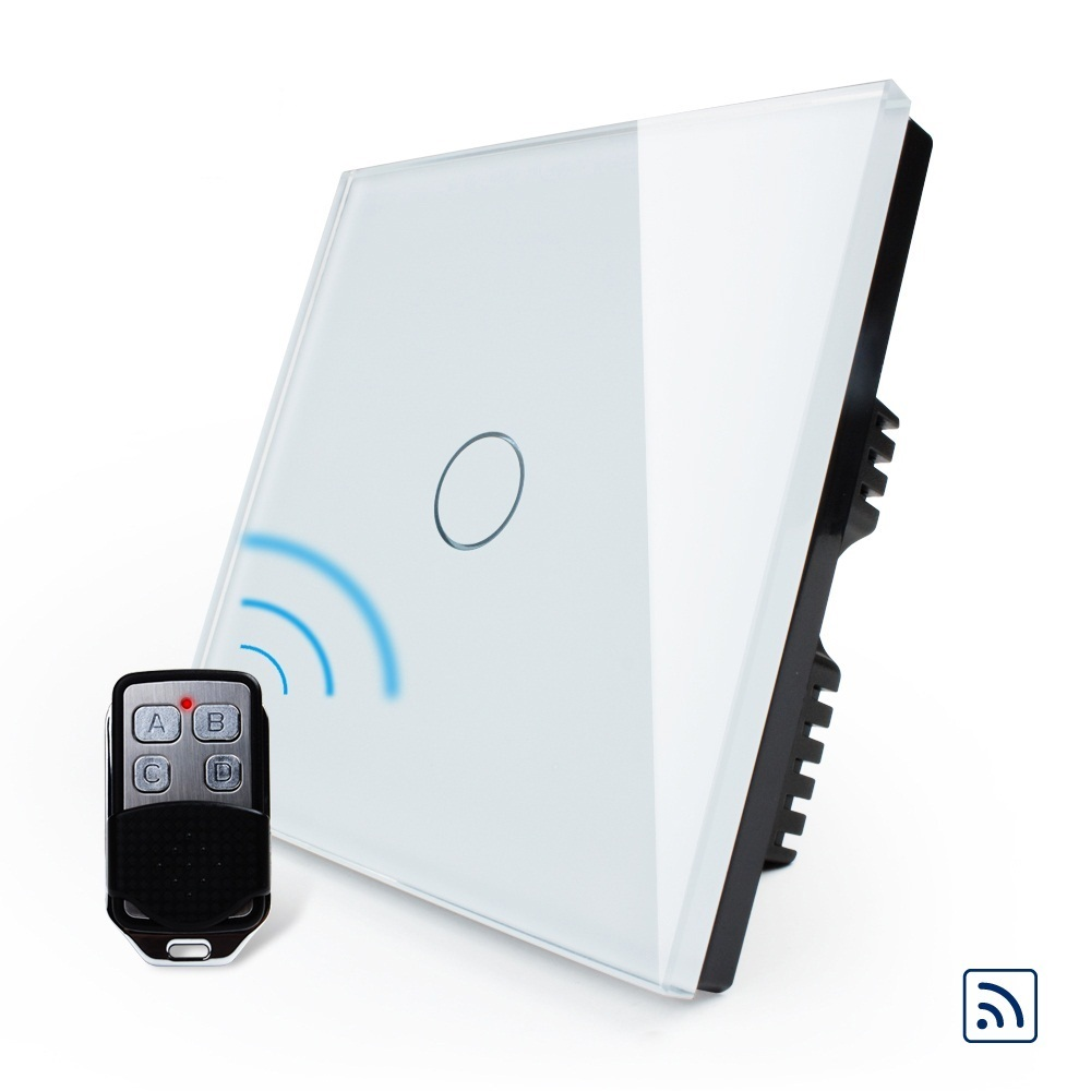Smart UK Standard, Wireless Touch Switch, White Crystal Glass Panel, Wall Light Wireless Remote Switch,OS-001R-61&amp; RMT02<br>