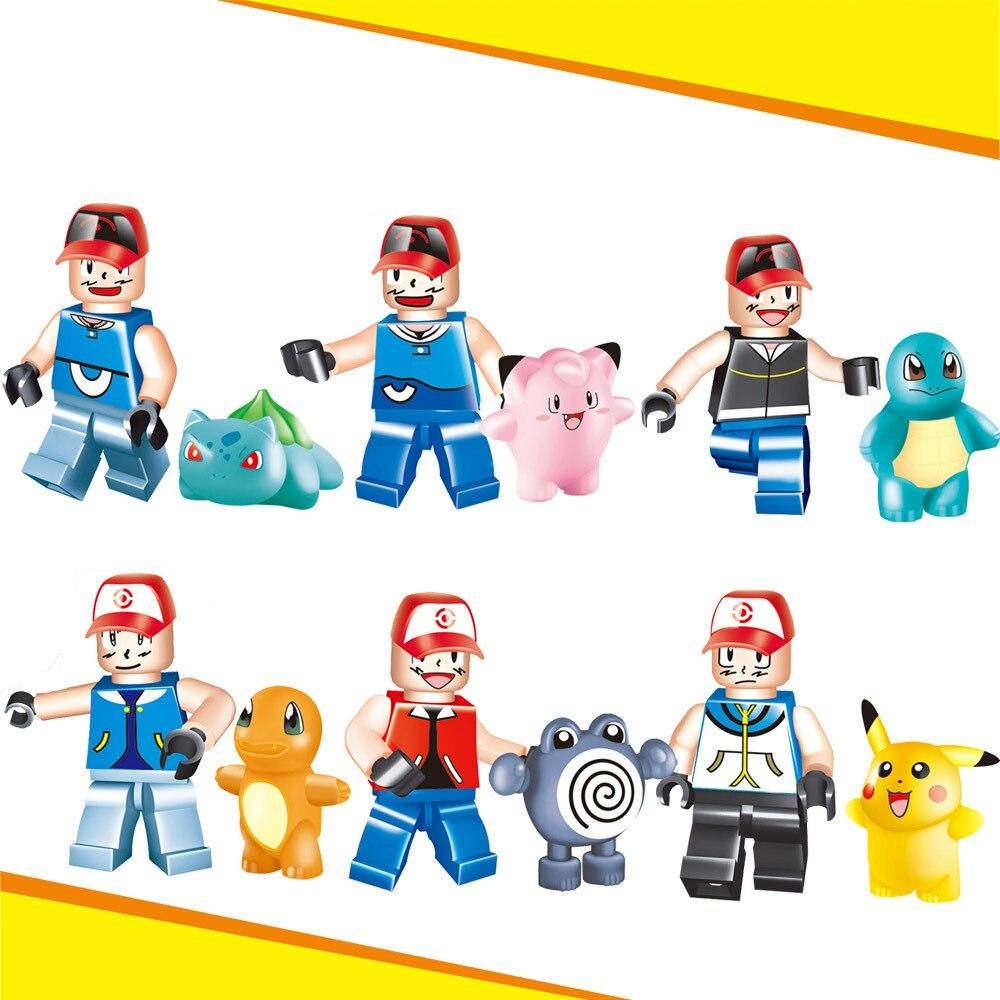 Pokemon Go Legoelied Anime Pikachu Charmander Squirtle Bulbasaur Poliwhirl Clefai Cartoon Minifigure Building Blocks Toy Boy<br><br>Aliexpress
