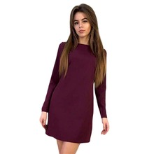 Buy 2017 Summer Style Dresses New Solid Womens O-Neck Shift Dress Long Sleeve Fashion Casual Bow Women Mini Wine Red Dresses LJ9015C for $8.96 in AliExpress store