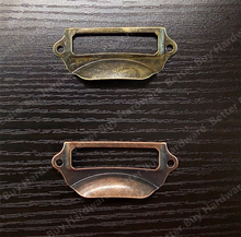 5pcs 69*29mm Antique Brass /Red Copper  Vintage Metal Label Pull Frame Handle File Name Card Holder Cabinet Drawer Box
