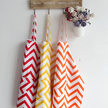 Hot Sale Cute Wave Striped 100% Cotton Waterproof Kitchen Bib Apron For Woman Pinafore Chef Restaurant Cooking Tool 21 TXJ