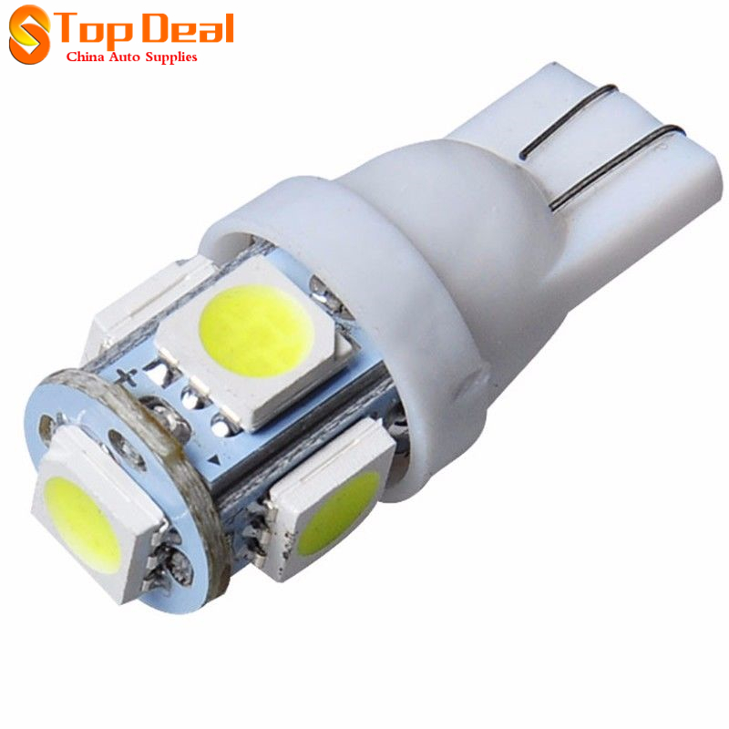 Hot Sale 100PCS White Light Source T10 Wedge 5-SMD 5050 Led Bulbs Universal Daytime Running Lamps W5W 2825 158 192 168 194<br><br>Aliexpress