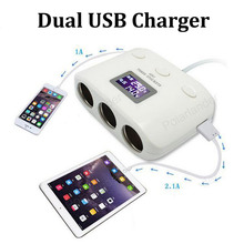 12-24V Dual USB square car cigarette lighter socket Charger 5V 1A 2.1A adapter for mobile phones camera PC car cleaner(China)