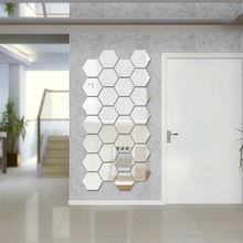 Modern Creative 3D Silver Mirror Geometric Hexagon Acrylic Wall Bedroom Living Room Stickers Decor DIY Gift(China)