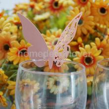 50pcs PINK Butterfly Wine Glass Name Place Cards Wedding Party Table Decor