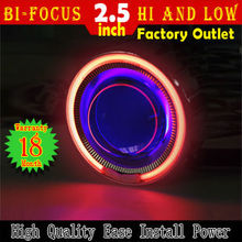 Best Sale!! HID Bi-Xenon Motorcycle Kit for H7 H1 H4  Ease install Bule Angel Eye Red Devil Eye lighting headlight