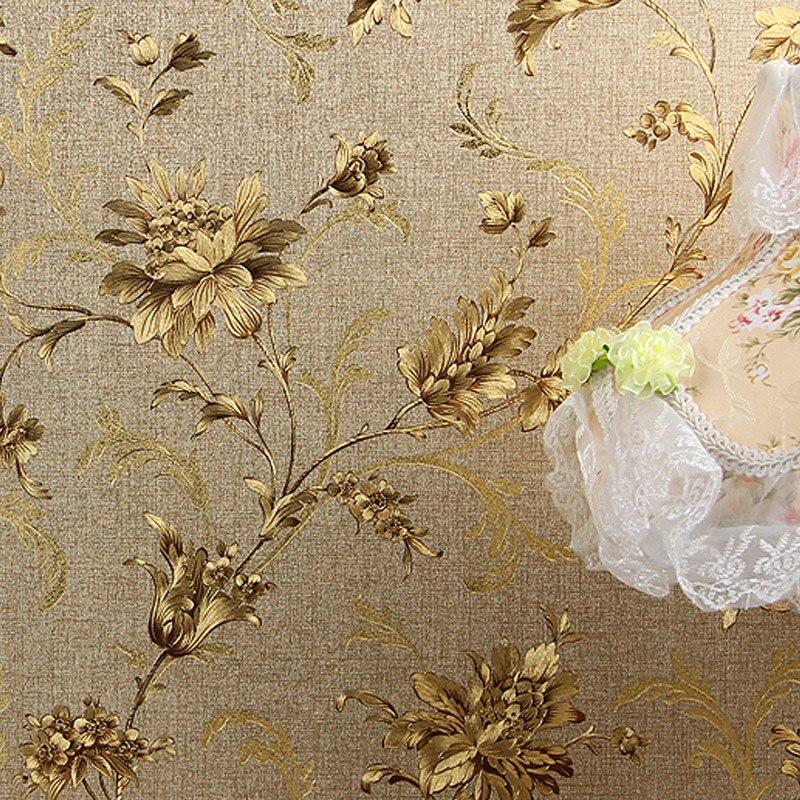 Luxury Floral 3D Wall Paper Modern Embossed Gold Foil Wallpaper Papel De Parede Wallpaper Roll Tapete Vinyl Wallpaper Home Decor<br>