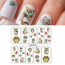 Owl Pattern Nail Art Water Decals Transfer Stickers Cute Animal Manicure Sticker BOP124 #15559(China)