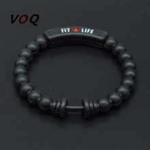 2017 Chakra Dumbbell Bracelet Men Fit Life Fitness Energy Sporty Silicone Barbell Bracelets & Bangles for Women Fashion Jewelry